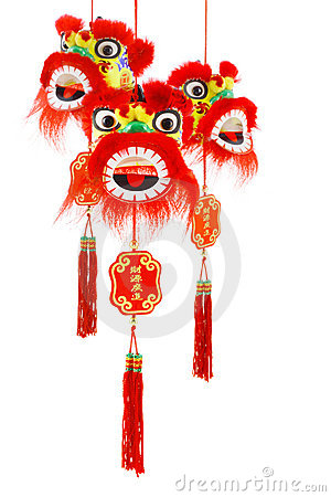 Chinese New Year Lion Head Ornaments Stock Image - Image ...