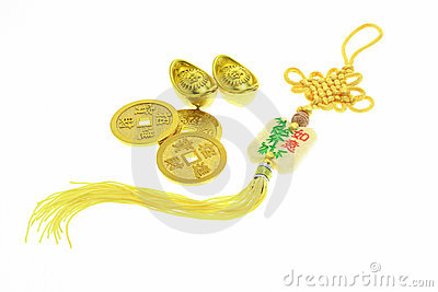 Chinese New Year ornament, gold coins and ingots