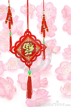 Chinese New Year ornaments on plum blossoms backg