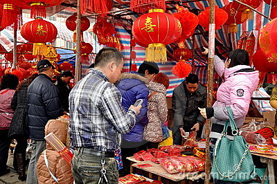 Chinese New Year Outdoor Market Editorial Photography