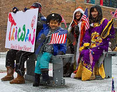 Chinese New Year Parade With Child Waving Flag Editorial Image