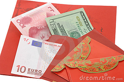 Chinese New Year red packets and currency notes