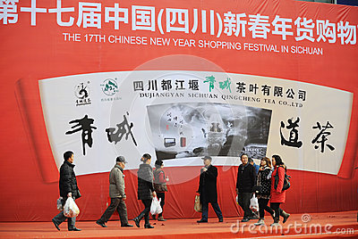Chinese new year shopping festival in sichuan Editorial Stock Photo