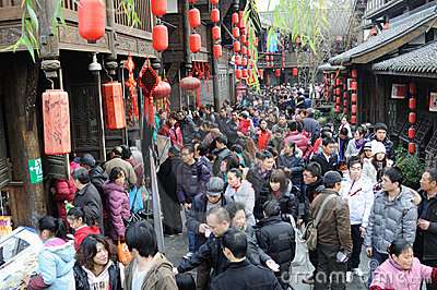 Chinese New Year Temple Fair in jinli Editorial Stock Photo