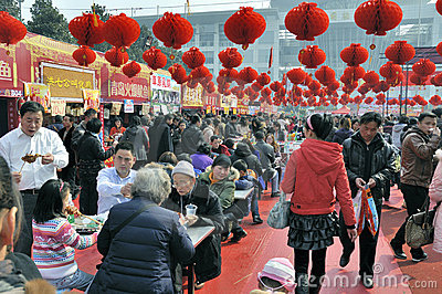 Chinese New Year Temple Fair in wuhan Editorial Stock Image