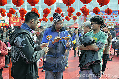 Chinese New Year Temple Fair in wuhan Editorial Photography