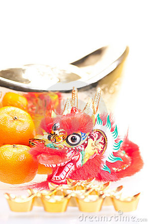 Free Chinese New Year With Dragon And Ingot Close Up Royalty Free Stock Image - 22193736