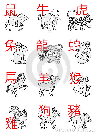 series of Chinese New Year Zodiac Signs with the calligraphy writing ...