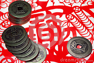 Chinese old copper coins and paper-cut