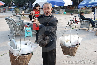 Chinese old man street seller Editorial Photo