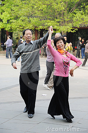 Chinese old people dancing Editorial Stock Photo