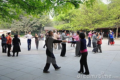 Chinese old people dancing Editorial Photo