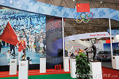 Chinese olympic committee stand Editorial Stock Image