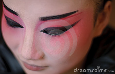 A chinese opera actress is painting her face Editorial Photo