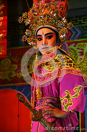 Chinese Opera team acting at The Chinesse Temple Editorial Stock Photo