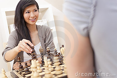 Chinese Oriental Asian Woman Playing Chess