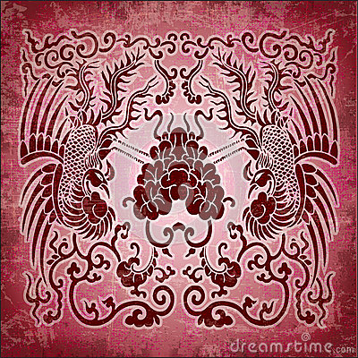 Chinese ornament phoenix on red grunge paper