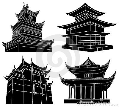 Chinese pagoda silhouettes
