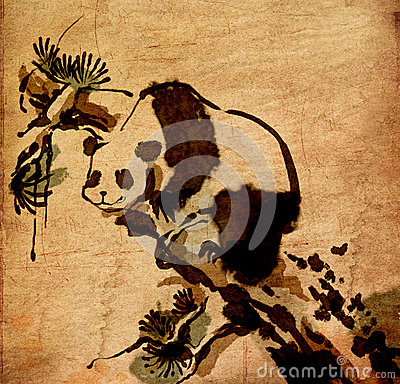 Chinese  painting animal panda