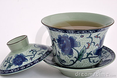 Chinese Painting flower tea cup and tea