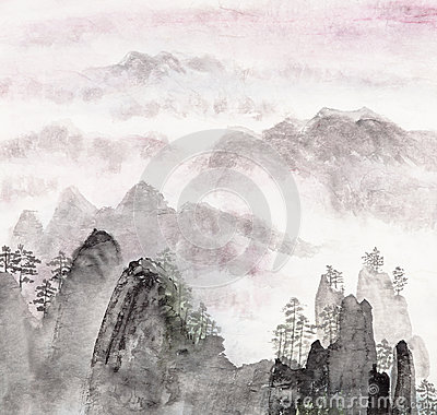 Free Chinese Painting Of High Mountain Landscape Stock Photos - 25892773