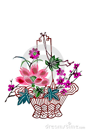 Free Chinese Paper-cut Color Flower Basket Royalty Free Stock Images - 37840299