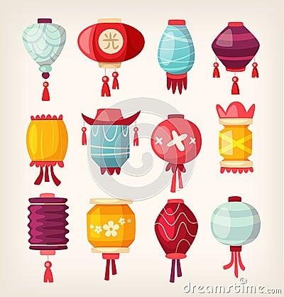 Free Chinese Paper Hanging Lanterns Royalty Free Stock Images - 60442369