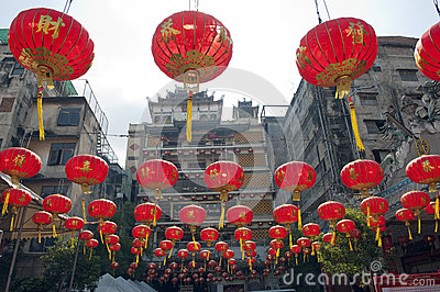 Chinese paper lanterns in chinese new year, Yaowaraj china town