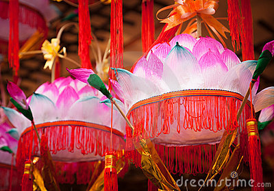 Chinese Paper Lanterns- Lotus flower lamp