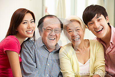 Chinese Parents With Adult Children Relaxing
