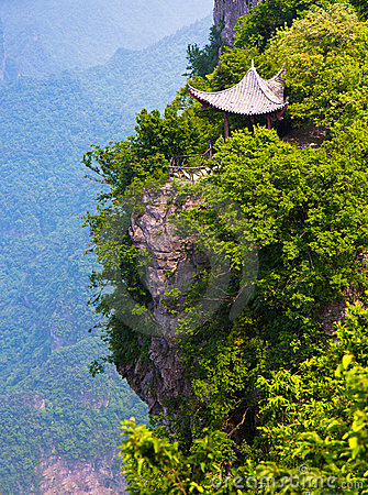 Chinese pavilion by the cliff, Mt. Tianmen, China