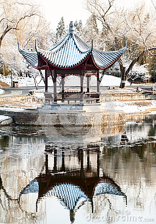 Chinese pavilion in winter