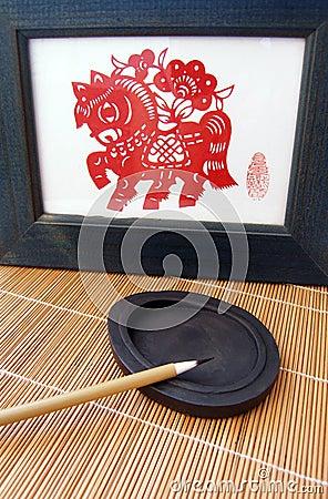 Chinese pen brush on ink stone