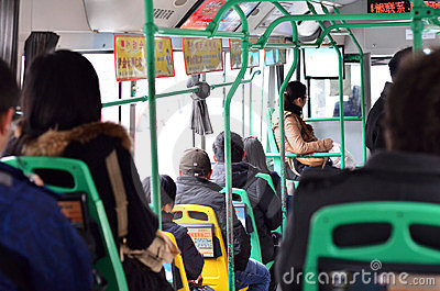 Chinese people on bus Editorial Photography