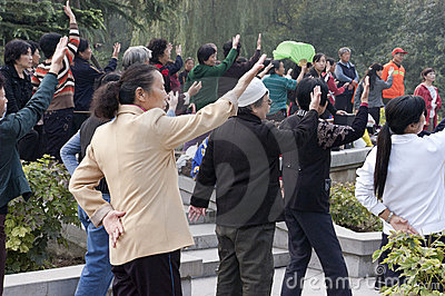 Chinese People Exercise Tai Chi, Xian China Travel Editorial Image