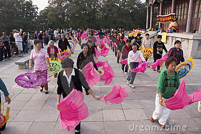 Chinese People Exercise, Xingqing Park Xian China Editorial Image