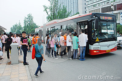 Chinese people line up on the bus Editorial Stock Photo