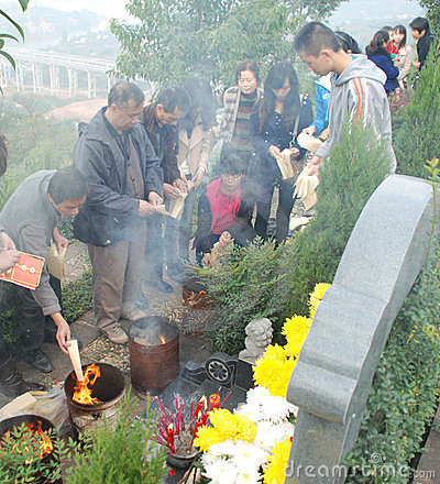 Chinese people Tomb sweeping Editorial Stock Photo