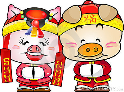 Chinese pig new year