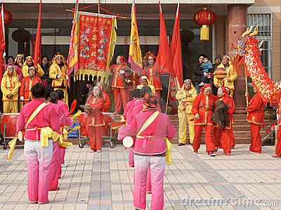 Chinese play drum and beat gong Editorial Photography