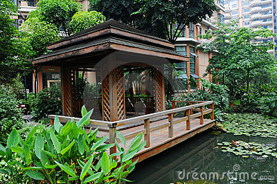 A Chinese pond garden with pavilion