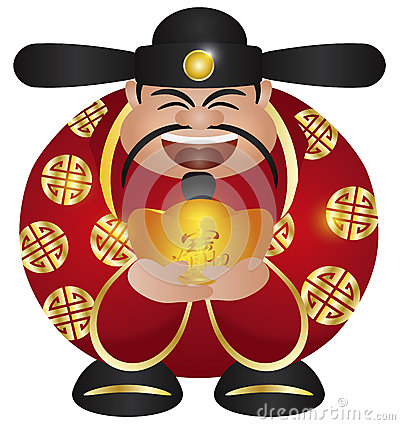 Chinese Prosperity Money God with Gold Bar