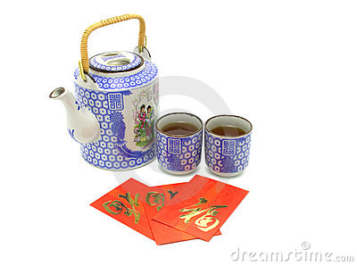 Chinese prosperity tea set and red packets
