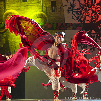 Chinese Qiang national dancer Editorial Stock Image