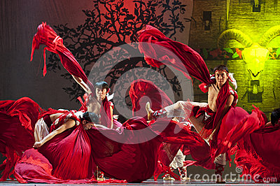 Chinese Qiang national dancers Editorial Stock Photo