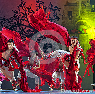 Chinese Qiang national dancers Editorial Photography