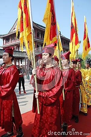 Chinese Qingming Festival public memorial ceremony Editorial Stock Image