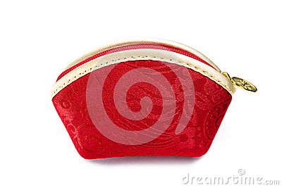 Chinese red brocade bag