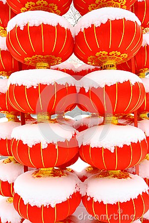 Chinese red lantern on snow