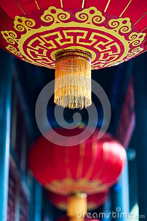 Free Chinese Red Lantern With Yellow And Golden Pattern Royalty Free Stock Photo - 101708845